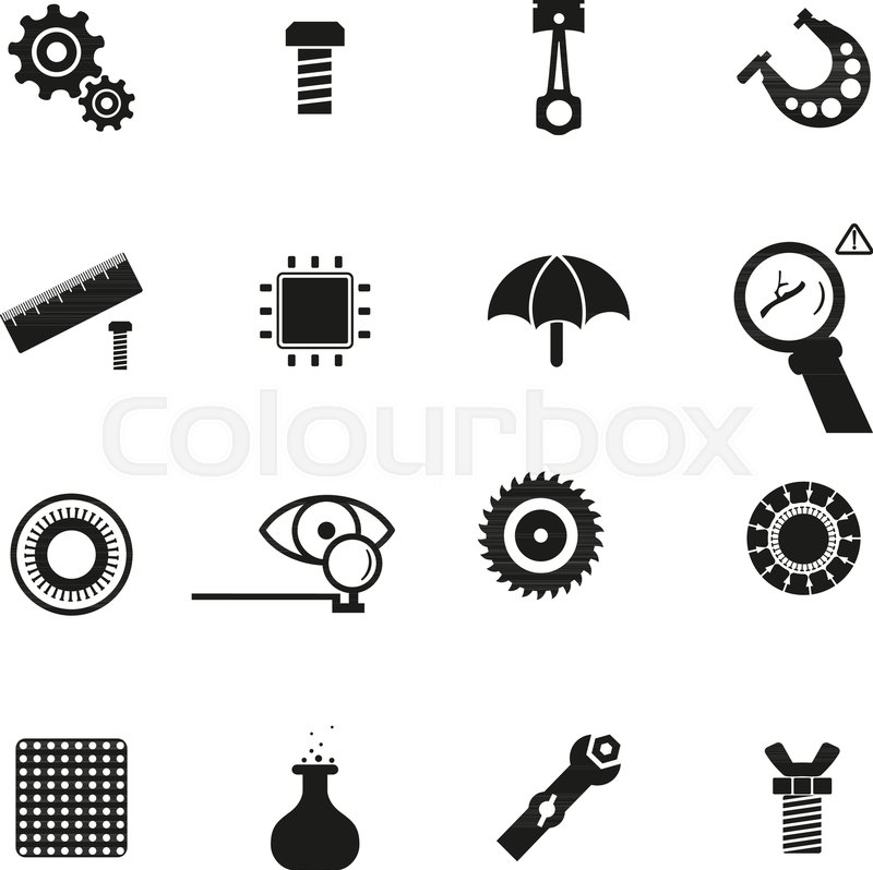 Micrometer Cogwheel And Gears Pictogram Piston Engine Screw And
