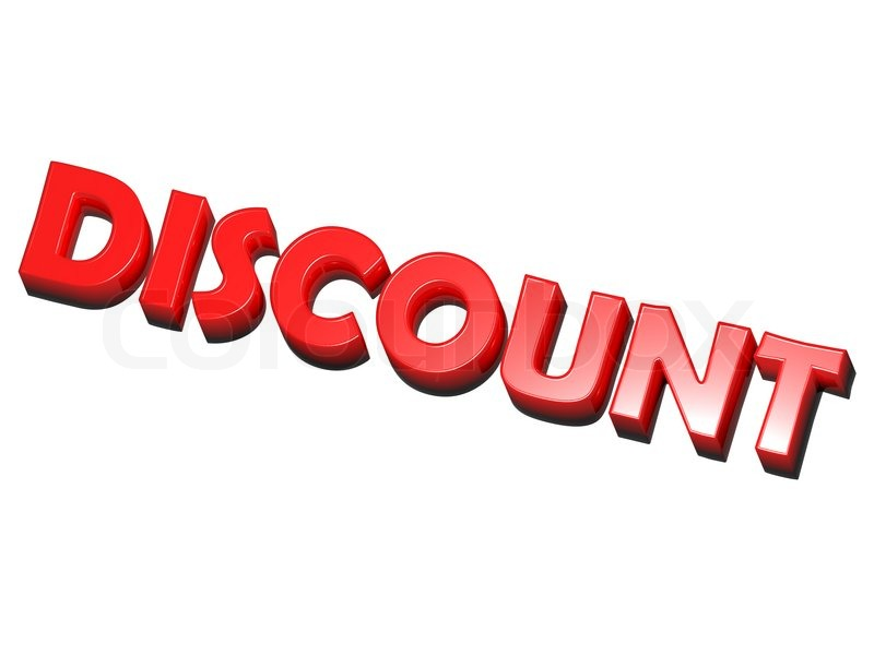 The word discount red on white background stock photo for Cheap white wallpaper