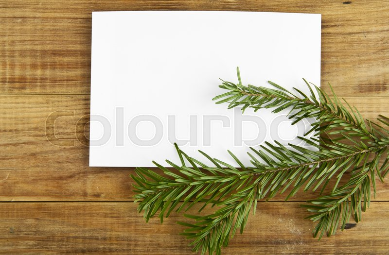 Branch of a tree on a wooden background, stock photo