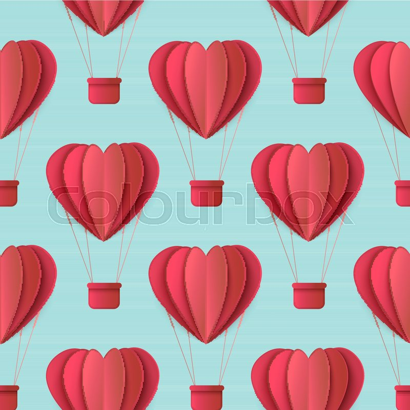 Vector Happy Valentines Day Origami Paper Red Hearts Seamless