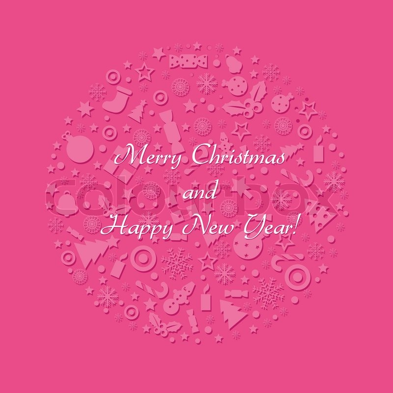 Merry Christmas And Happy New Year Card, Vector Illustration | Stock ...