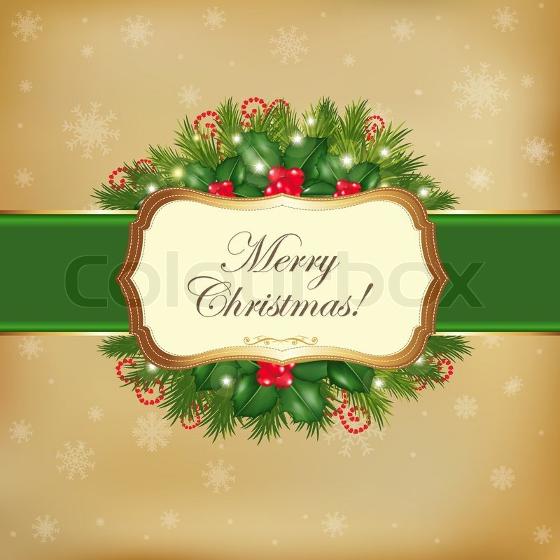 Merry Christmas Card With Garland, Vector Illustration | Stock ...