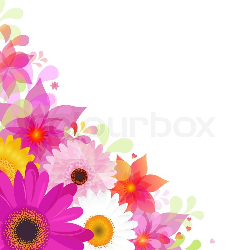 Stock vector of 'Flower Background With Gerbers And Leafs, Isolated On White Background, Vector Illustration'