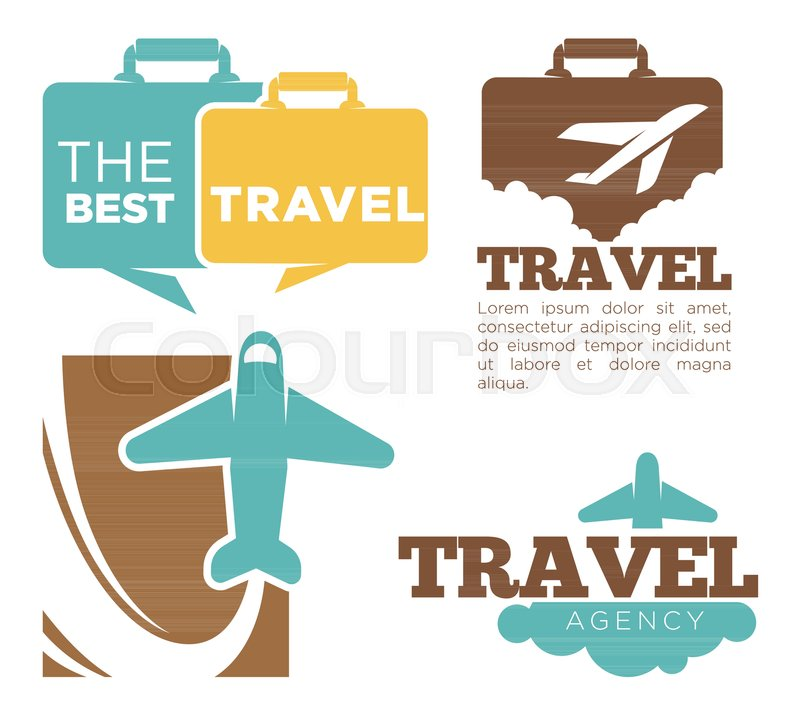 Best Travel Agency Promotional Poster With Plane And Suitcase Silhouettes Sample Text Cartoon Flat Vector Illustrations On White Background