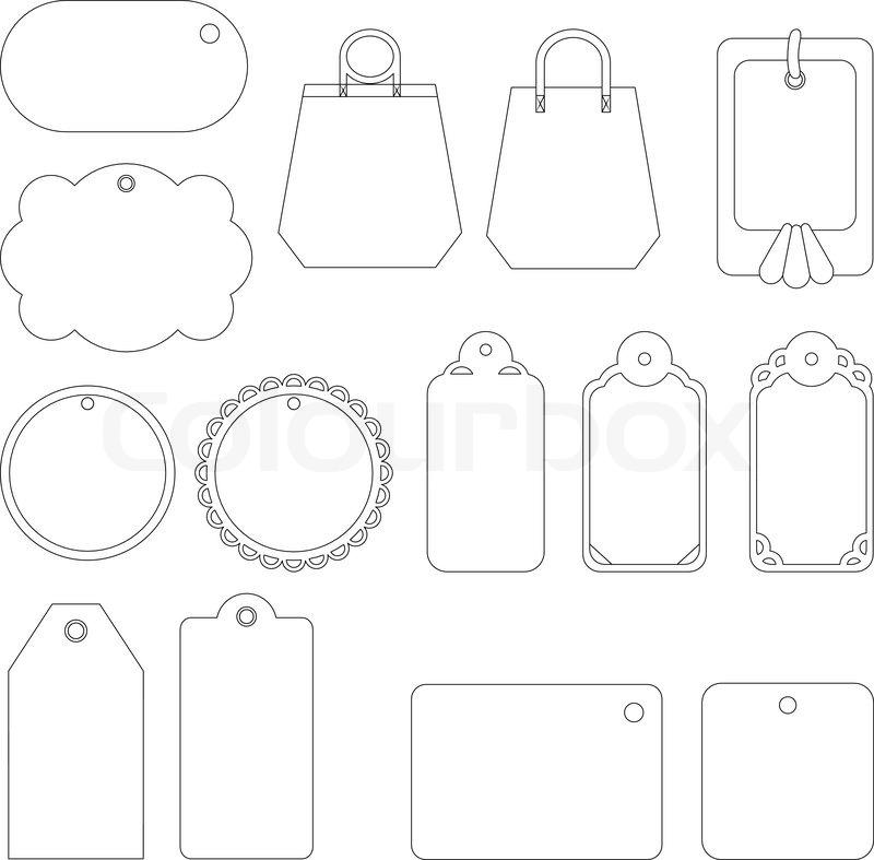 set von etiketten und tags monochrome konturen auf wei em hintergrund vektorgrafik colourbox. Black Bedroom Furniture Sets. Home Design Ideas