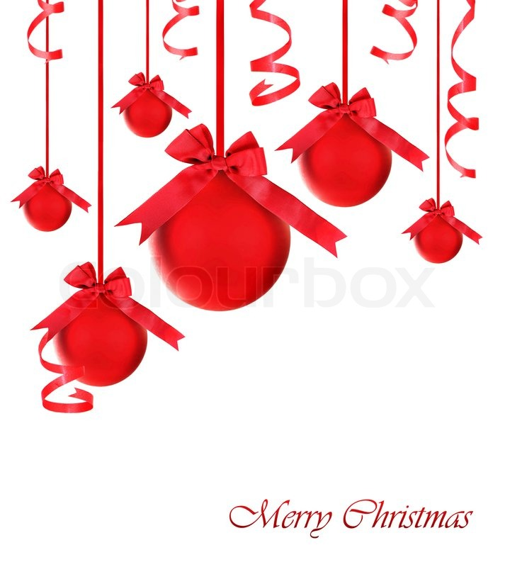 Red baubles with bows, Christmas tree ornaments and holiday ...