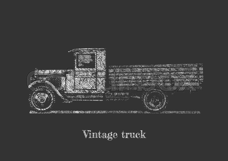 Stock Vector Of Drawing Retro Lorry On Chalkboard Side View