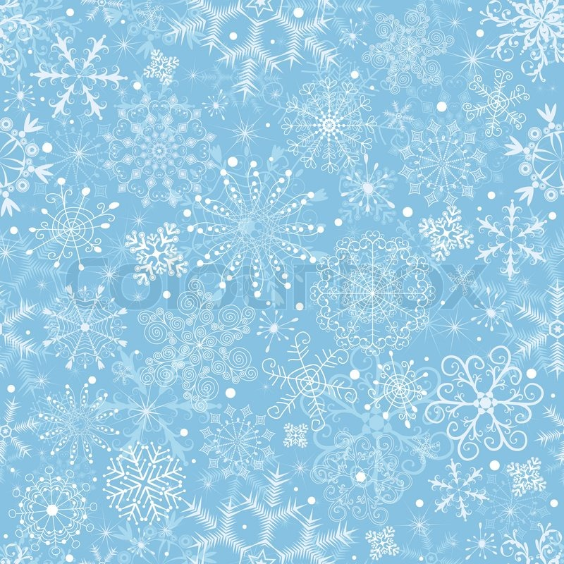gentle blue pastel christmas pattern with snowflakes vector stock