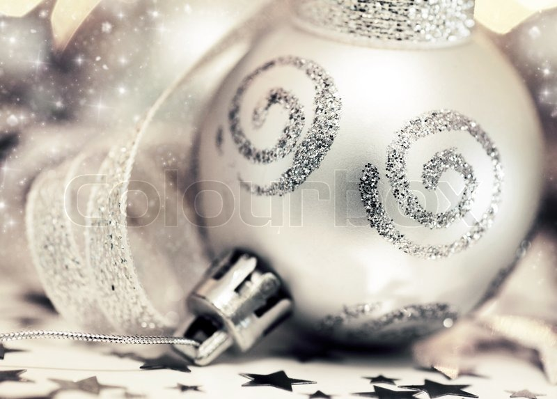 Christmas Holiday Background Photograph By Anna Om: Holiday Background With Silver Christmas Tree Ornament And