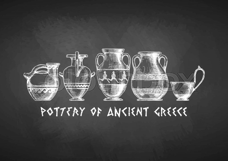 Pottery Of Ancient Greece Vases Set Drawn With Chalk On Blackboard