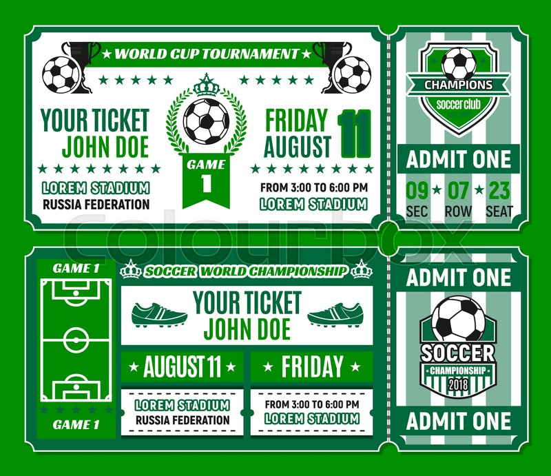 Soccer ticket template of football world cup tournament invitation ...