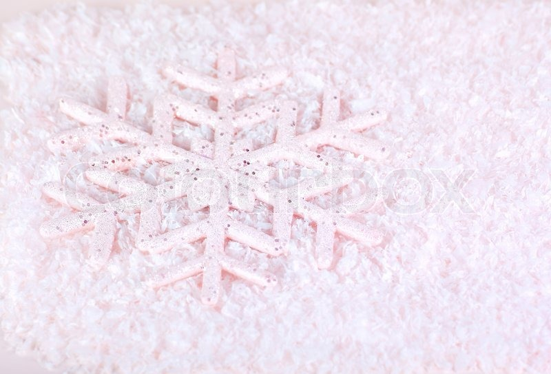 Snowflake, pink winter holiday background, christmas tree ...