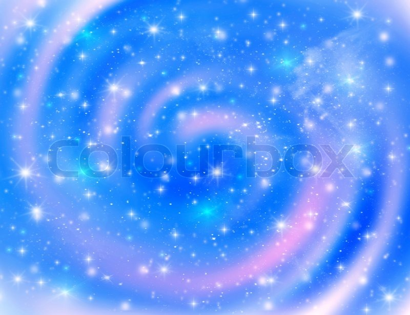 Blue space background with glowing stars galaxies & light ...