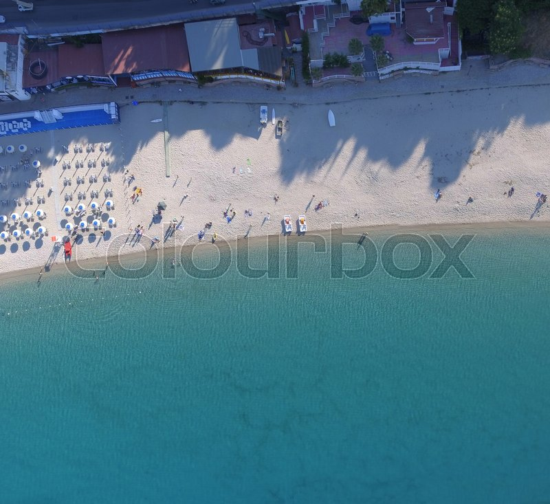 Overhead aerial view of beautiful beach in summer season, stock photo