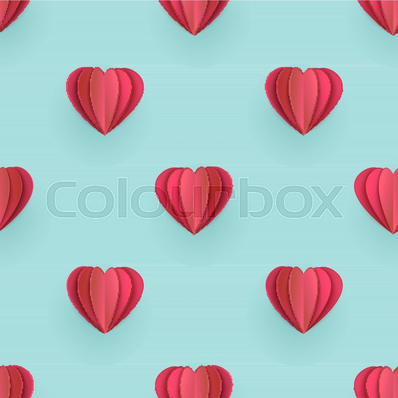 Happy valentines day origami paper hearts hanging vector illustration. | 800x800