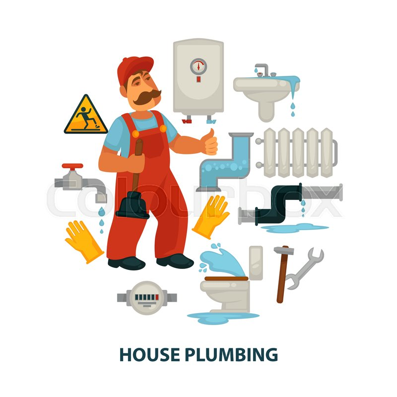 house plumbing promotional poster with plumber in work uniform