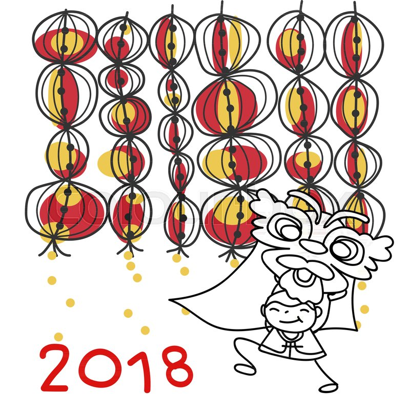 hand drawing cartoon character chinese people dancing lion dance and kid happy chinese new year 2018 moon year lunar year concept line art for coloring
