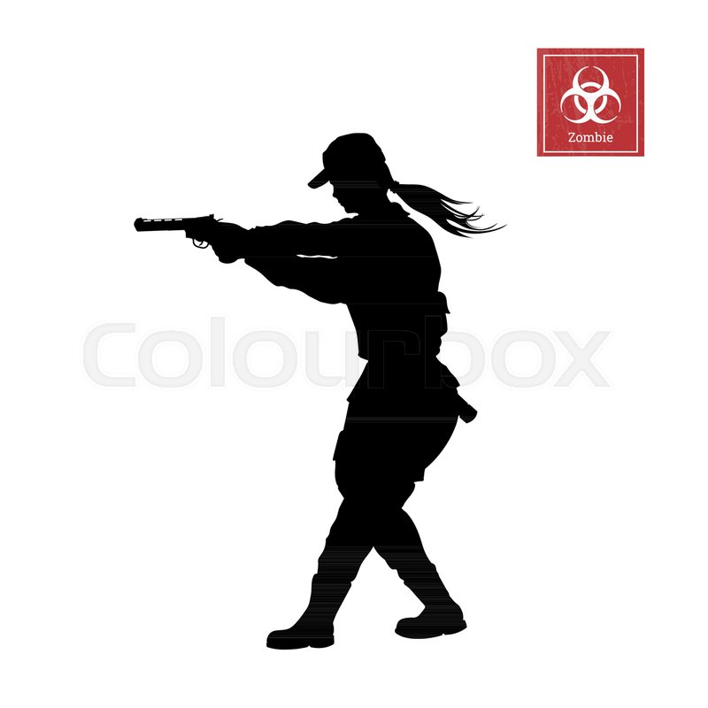 black silhouette of police woman with gun on white background girl