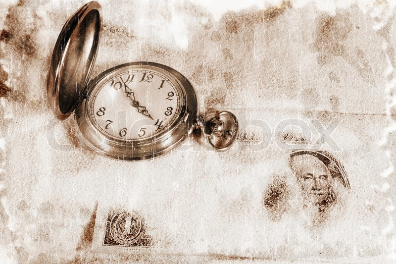 Vintage style photography  Old watch mechanism and dollar bills (vintage style, with a grungy ...