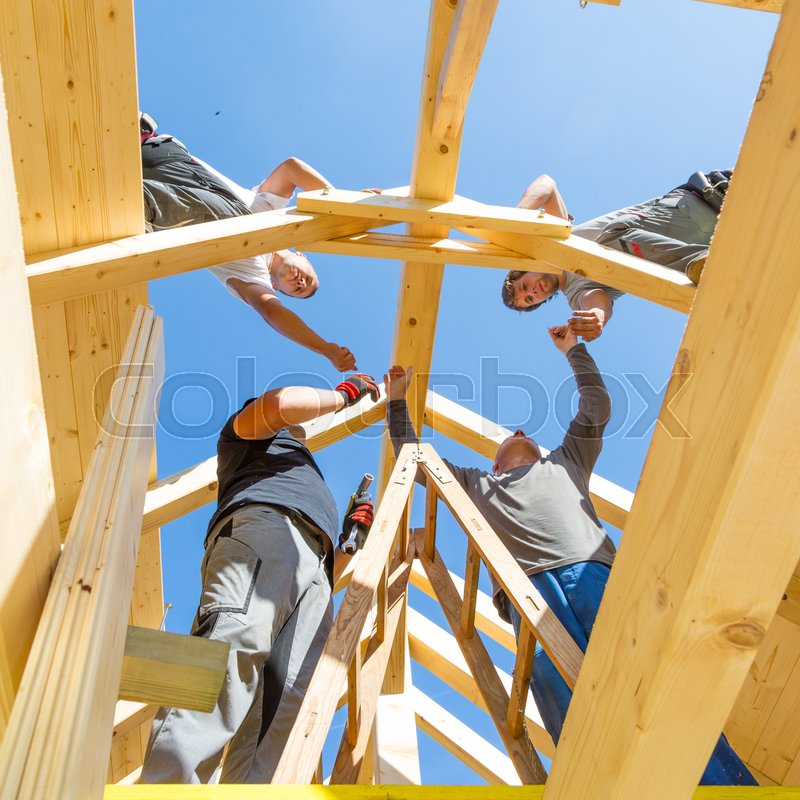 Roof Builders Mounting Prefabricated Stock Image Colourbox