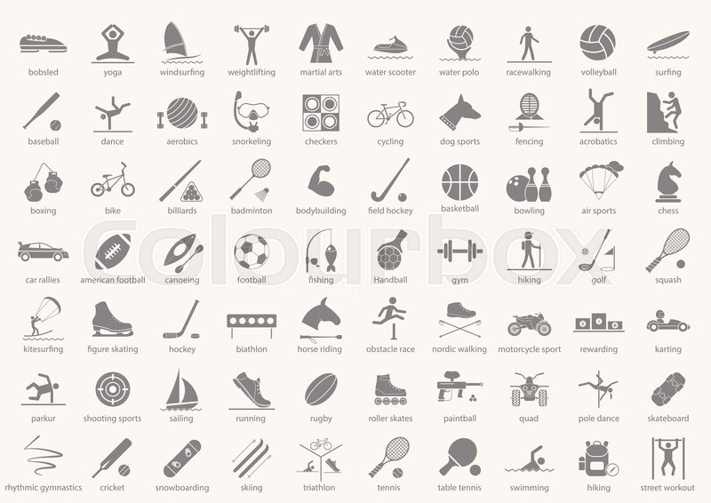 Set of sport icons in flat design with shadows. Vector illustration EPS10, vector
