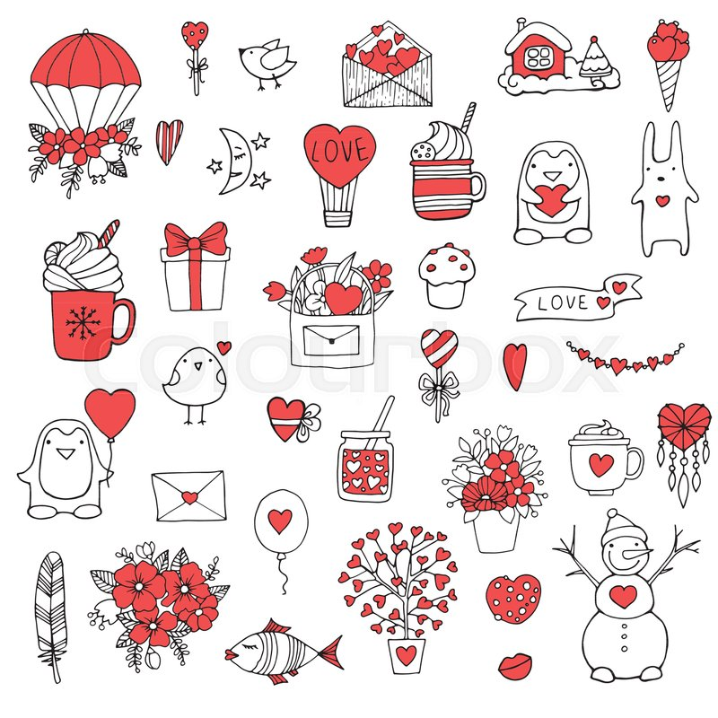 Set of hand drawn doodle love elements for wedding valentines day card sticker stamp design vector illustration with heart love speech bubble arrow