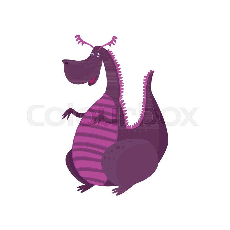 Little purple dragon cartoon character, mythical animal, fantasy reptile vector Illustration on a white background, vector