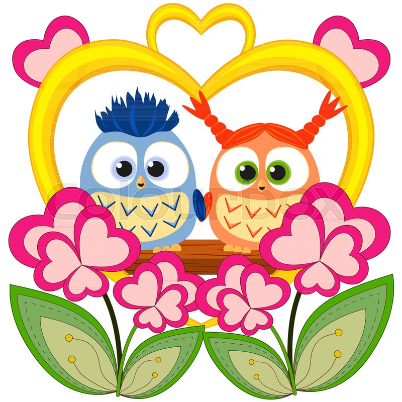 Valentine Day Colorful Poster With An Owl Couple Romantic Vector