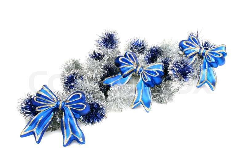 christmas garland with blue ribbons on a white background. Black Bedroom Furniture Sets. Home Design Ideas