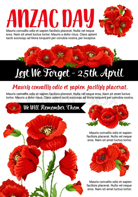 Anzac day 25 april lest we forget memorial day card or poster anzac day 25 april lest we forget memorial day card or poster australian army war veterans and soldiers remembrance anniversary vector design of red poppy mightylinksfo