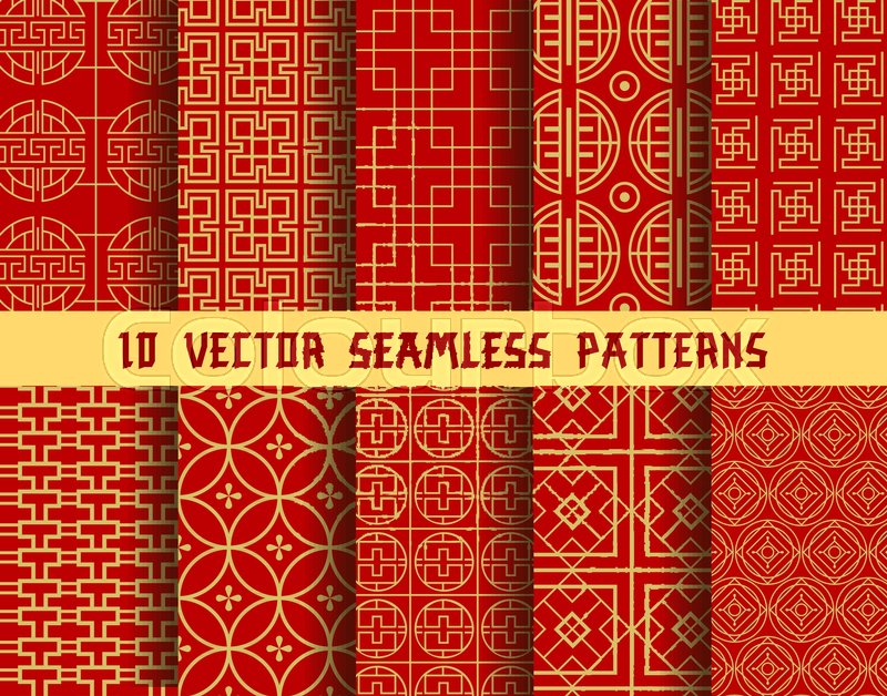 Chinese Red And Golden Seamless Vector Patterns Of Abstract Stunning Asian Patterns
