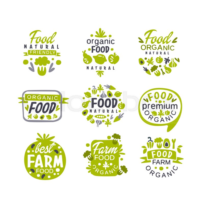 Organic Food Products Healthy: Hand Drawn Gray And Green Organic ...
