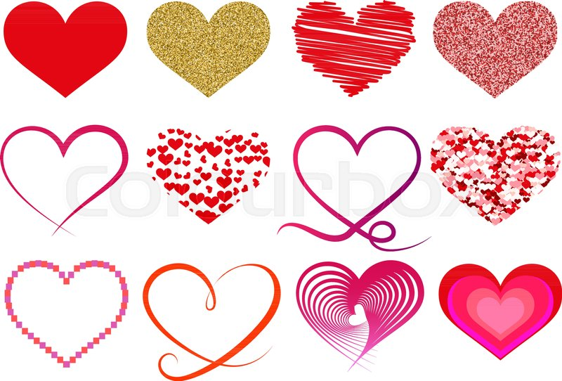 Collection Of Different Heart Shape Symbols Stock Vector Colourbox