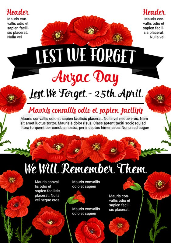 Anzac Day Memorial Day Card And Lest We Forget Text Banner For 25
