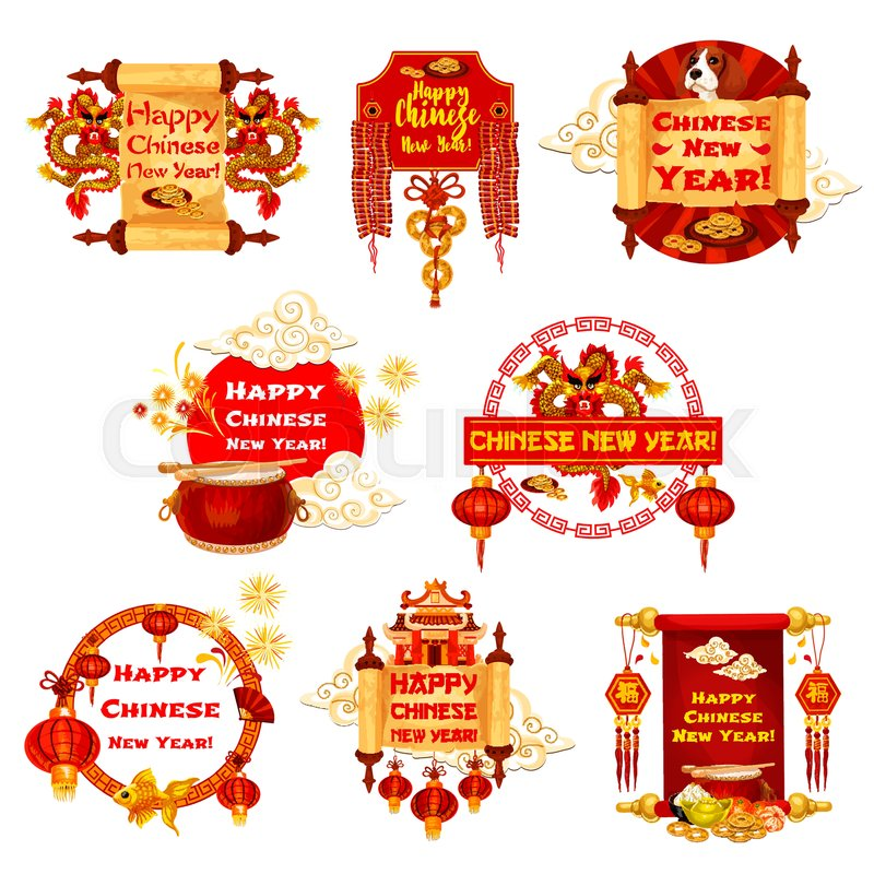 Happy Chinese New Year Greeting Icons Of Traditional China Holiday