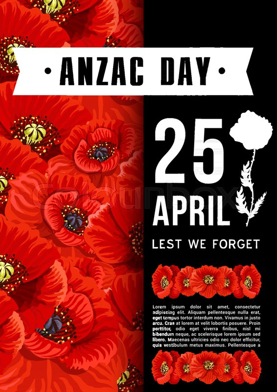 Anzac day 25 april memorial australian war anniversary poster or anzac day 25 april memorial australian war anniversary poster or greeting card of red poppy flowers vector anzac day wwi australia and new zealand war m4hsunfo