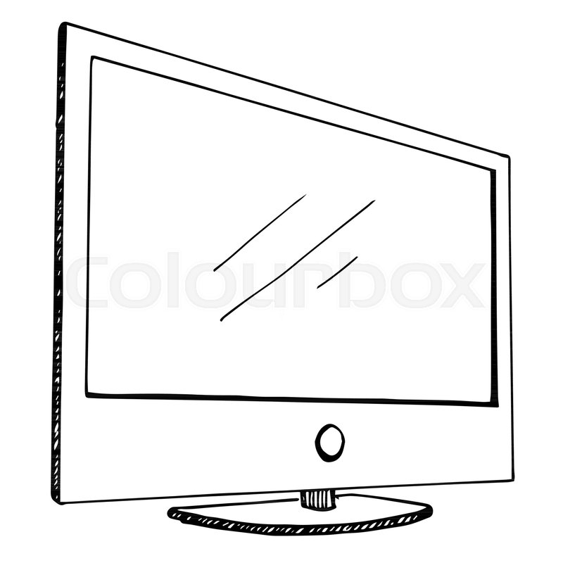 sketch tv isolated on a white