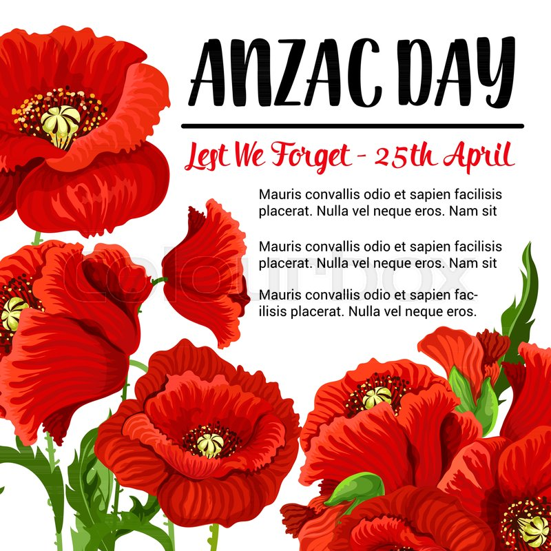 Anzac day memory card for 25 april australian national war soldiers anzac day memory card for 25 april australian national war soldiers remembrance vector design of red poppy flowers and lest we forget poster for australia mightylinksfo