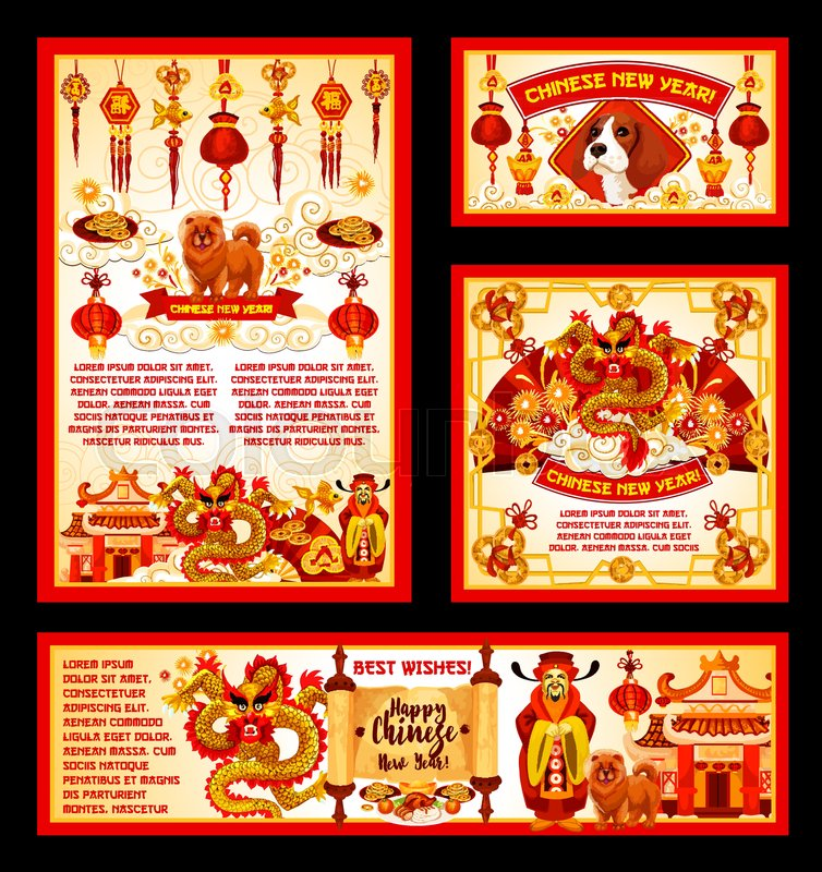 Happy chinese new year greeting cards or banners of traditional happy chinese new year greeting cards or banners of traditional china lunar holiday symbols vector emperor with hieroglyph scroll golden dragon and paper m4hsunfo Image collections