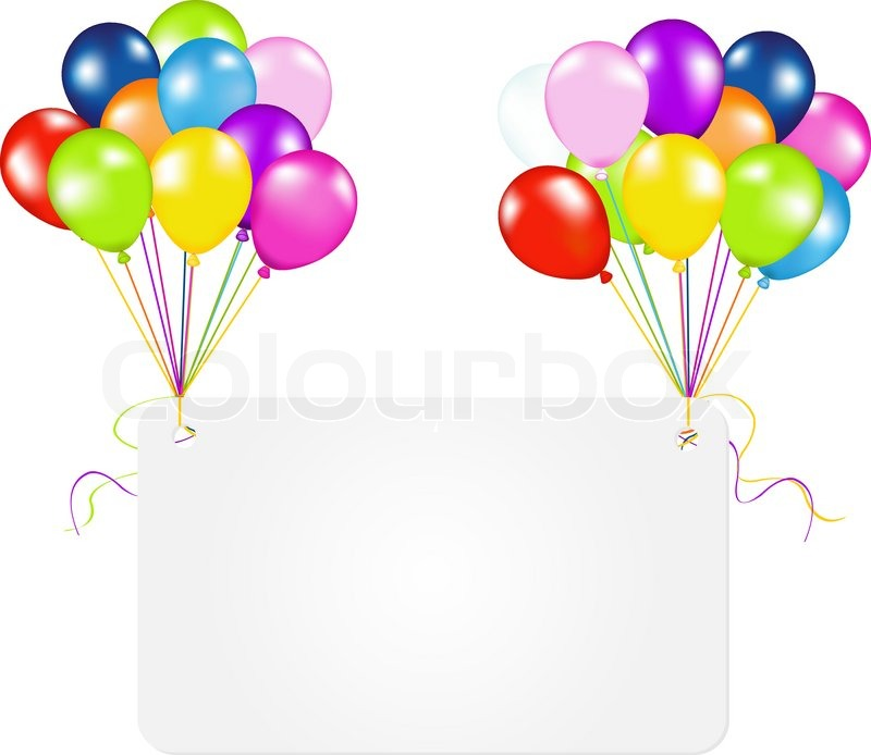 Birthday Card With Balloons Isolated On White Background Vector