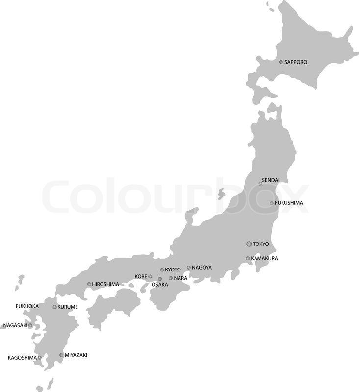 Japan Map Isolated On White Background Vector Illustration - Japan map black and white