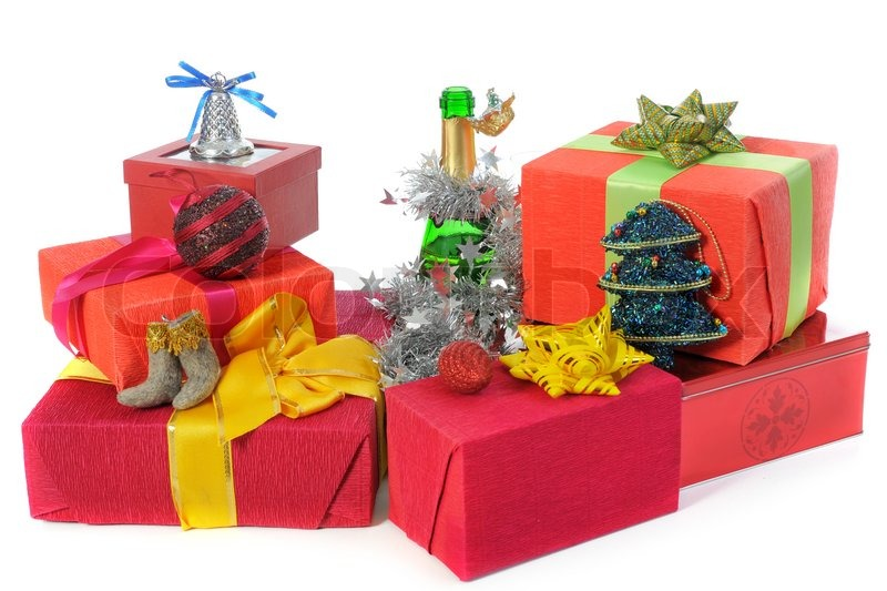 santa claus christmas presents isolated on white background stock photo - Santa Claus With Presents