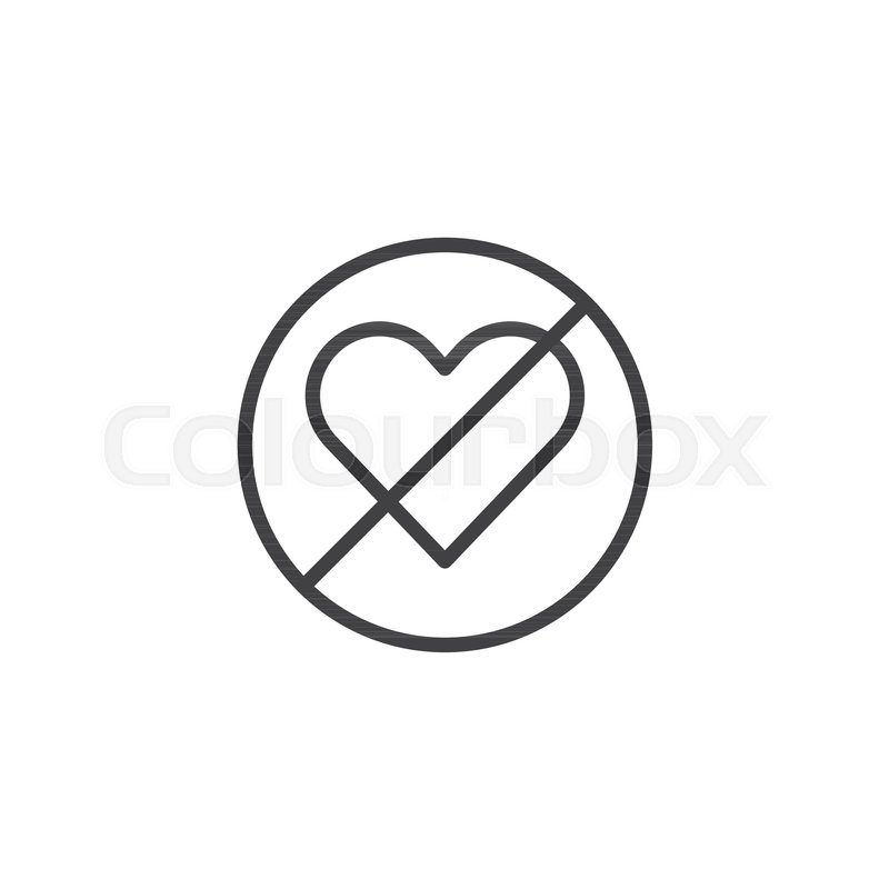 Forbidden Love Line Icon Outline Vector Sign Linear Style