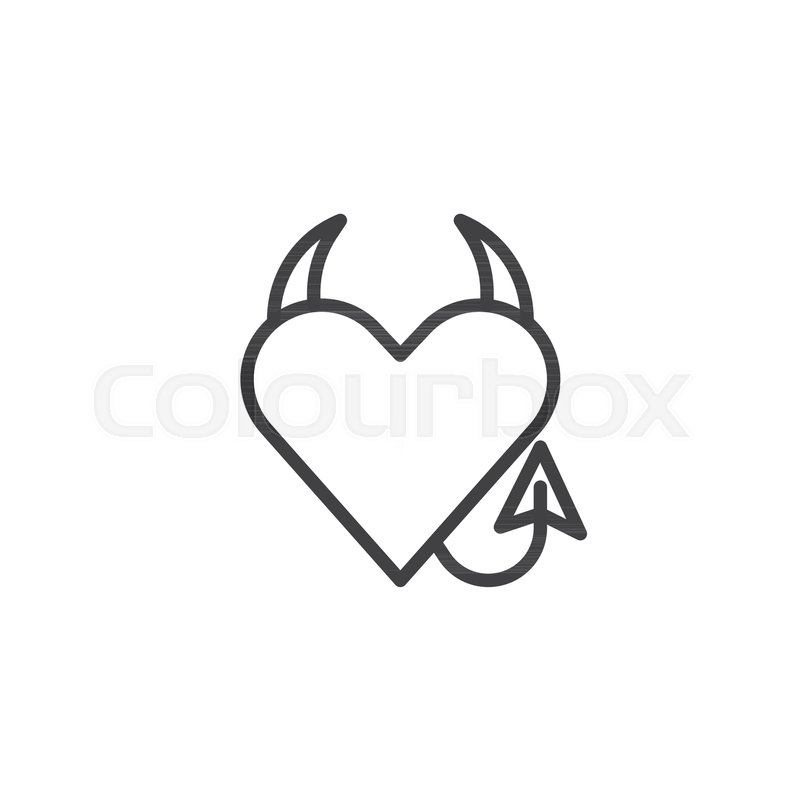 devil heart line icon outline vector sign linear style pictogram