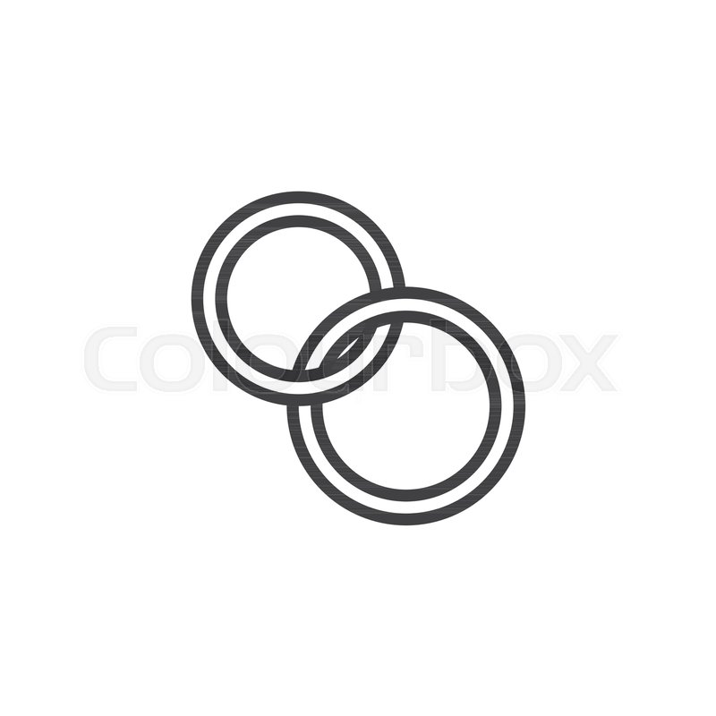 Wedding Rings Line Icon Outline Stock Vector Colourbox
