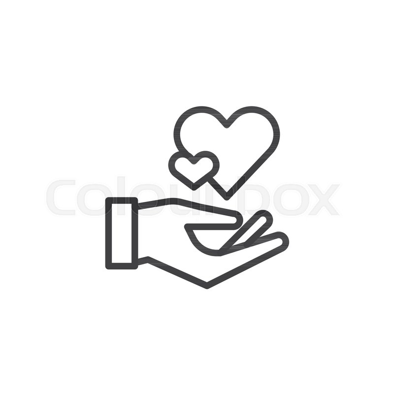 Hearts In Hand Line Icon Outline Vector Sign Linear Style Pictogram Isolated On White Hand Hold Heart Symbol Logo Illustration Editable Stroke
