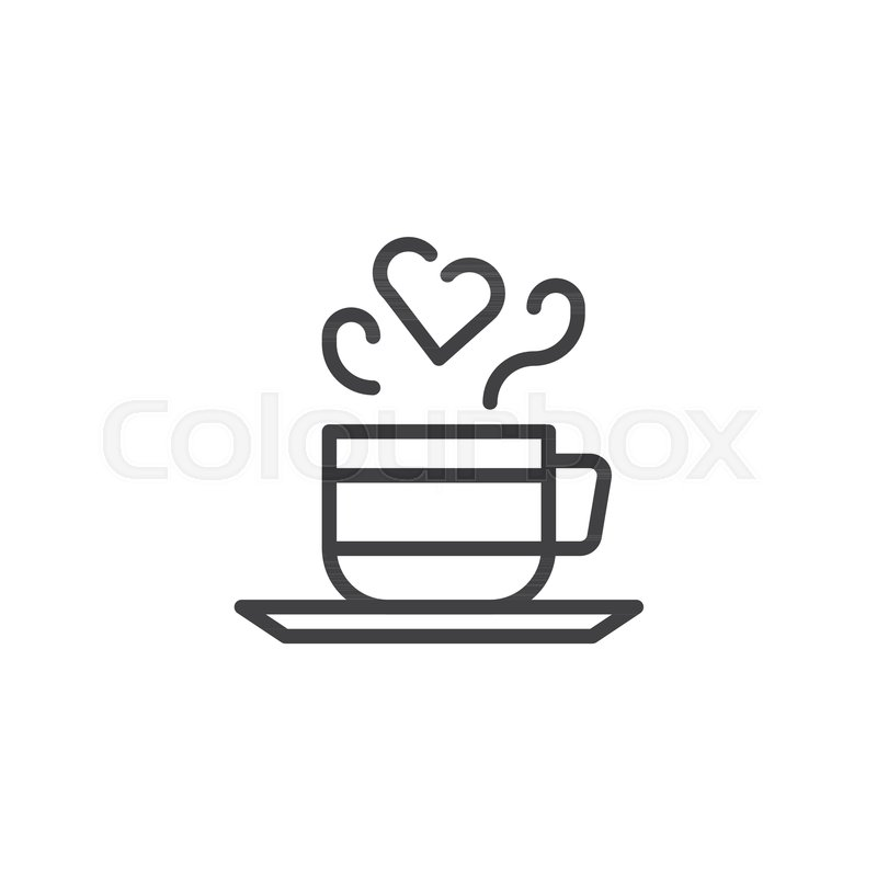 Cup Of Coffee With Steam In Heart Shape Line Icon Outline Vector Sign Linear Style Pictogram Isolated On White Love Hot Drink Symbol Logo Illustration