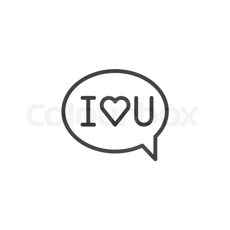 i love you message line icon outline vector sign linear style pictogram isolated on white speech bubble with i love you text symbol logo illustration