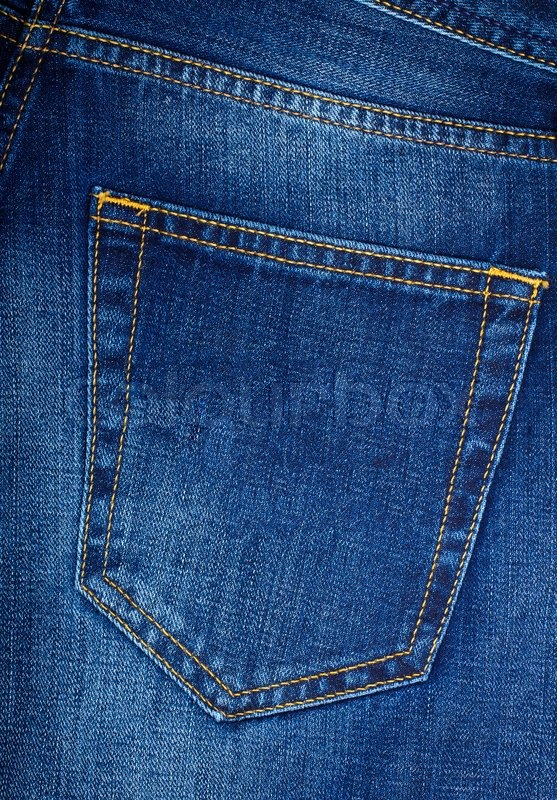 Back pocket of blue Jeans | Stock Photo | Colourbox