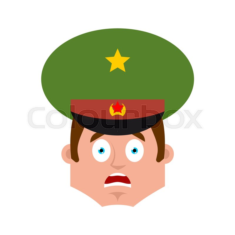 Russian Officer scared OMG emoji. Soldier Oh my God emotion avatar. Frightened Military in Russia. Illustration for 23 February. Defender of Fatherland Day. Army holiday for Russian Federation, vector